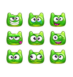funny cartoon green jelly monster vector image vector image