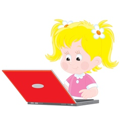 girl with a laptop vector image vector image