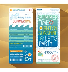 summer holiday party boarding pass background vector image vector image