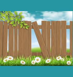 wooden fence broken plank vector image vector image