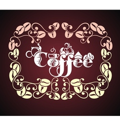 Cup of coffee with floral design elements vector image vector image