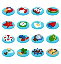 Holiday vacation isometric set vector image vector image