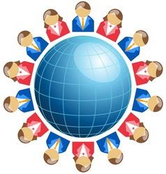 Business men and women around globe vector image vector image
