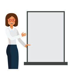 business woman showing blank template board vector image vector image