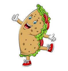 A cartoon happy burrito or kebab character vector