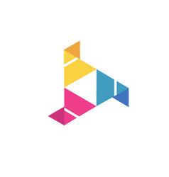 Abstract triangle logo creative media play logo vector