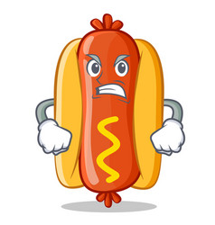 Angry hot dog cartoon character vector