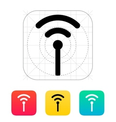 Antenna broadcasting radio signal icon vector