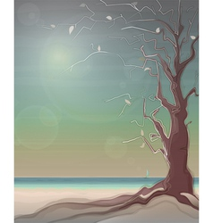 Autumn Sea Landscape with a Tree vector