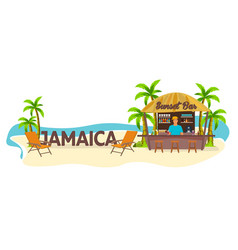 beach bar jamaica travel palm drink summer vector image