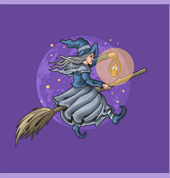 Beautiful witch riding flying broom vector