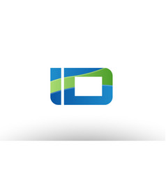 blue green id i d alphabet letter logo vector image