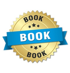 book 3d gold badge with blue ribbon vector image