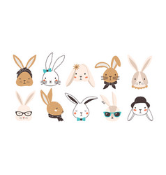 bundle funny bunny faces isolated on white vector image