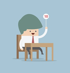 Businessman judge holding ten score signs vector image