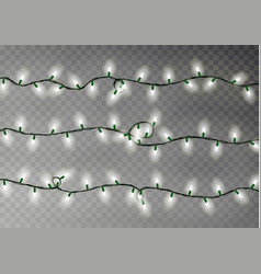 christmas color lights string transparent effect vector image