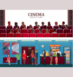 Cinema and movie time colorful vector