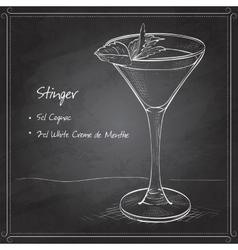 Cocktail alcoholic Stinger on black board vector