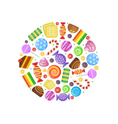 colored candies chocolate caramel cakes fruit vector image