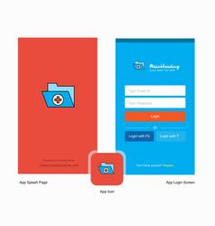 Company medical folder splash screen and login vector