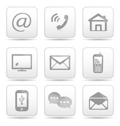 Contact buttons set email icons vector