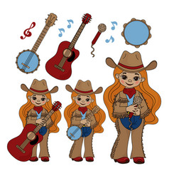 country musician cowboy music festival illu vector image