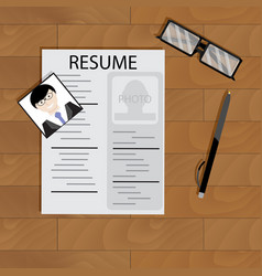 Create resume desktop top view vector
