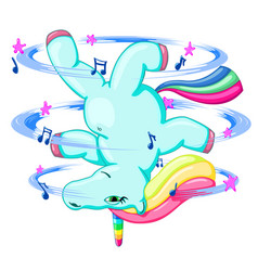 cute funny unicorn break dancing vector image