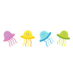 cute jellyfish set line happy family baby vector image