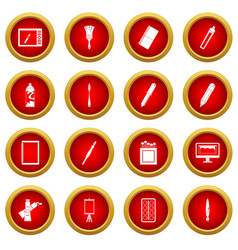 Design and drawing tools icon red circle set vector