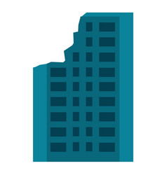 destroyed city building icon flat style vector image