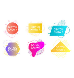 did you know label set isolated vector image