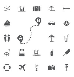 Distance solid icon navigation and route map vector