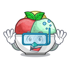 diving sorbet with mint bowl on character vector image