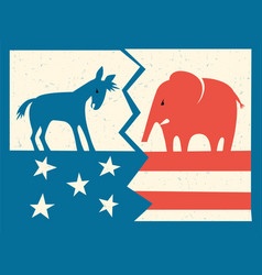 Donkey and elephant on fractured flag vector