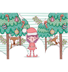 elf with pine trees and balls with candy cane vector image