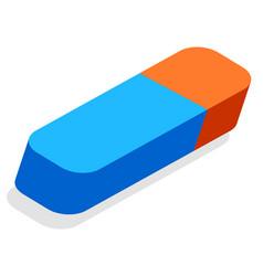 Eraser or erasing tool school stationery supply vector