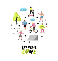 Extreme sports cartoons teenager skateboarding vector