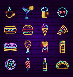 fast food neon icons vector image