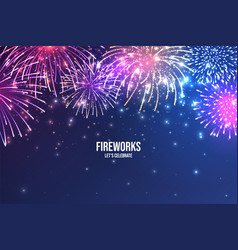 festive fireworks realistic colorful firework on vector image