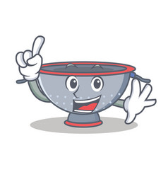 Finger colander utensil character cartoon vector