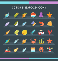 fish and seafood thin set vector image