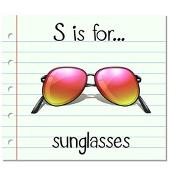 Flashcard letter S is for sunglasses vector