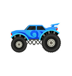 flat icon of big monster truck blue car vector image