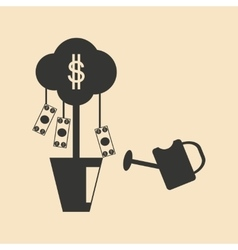 Flat in black and white Money Tree vector