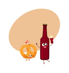 funny beer bottle and salty pretzel characters vector image