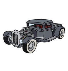 funny gray hotrod truck vector image