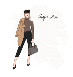girl in trendy cap coat pants and sweater sketch vector image