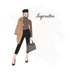 Girl in trendy cap coat pants and sweater sketch vector