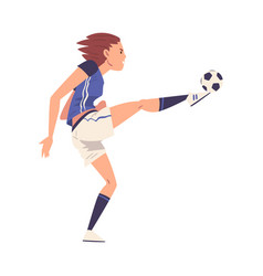 Girl soccer player character young woman in vector